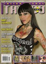 Michelle 'Bombshell' McGee posed for Tattoo Magazine with a long straight haircut featuring front bangs.