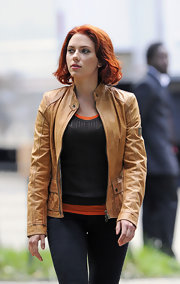 Scarlett Johansson was spotted on set of 'The Avengers' in a tan moto-style leather jacket.