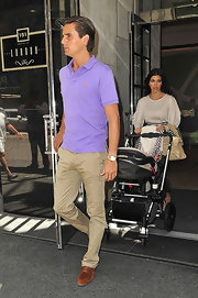 Scott paired his purple polo with suede brown loafers.