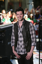 Danny looks tough in this zipper leather vest at the Today Show.