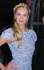 Candice Swanepoel rocked a serious Heidi braid for her appearance at the CFDA Awards.