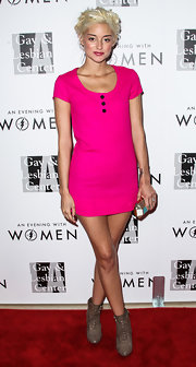 Caroline D'Amore brightened up the Evening with Women gala with her hot-pink mini dress.