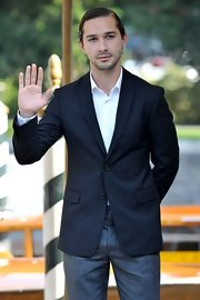 Shia LaBeouf looked so gentlemanly in his black blazer and gray slacks, complete with slicked-back hair, at the Venice Film Festival.