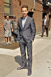 Shia LaBeouf sported an elegant all-gray ensemble when he appeared on 'The Late Show with David Letterman.'