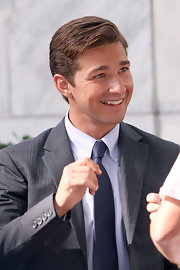Clean-shaven and wearing a super neat side-parted 'do and a gray suit, Shia LaBeouf was swoon-worthy on the set of 'Transformers.'