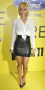 Keri opted for short and sassy at a pre-BET Awards dinner in a white shirt and black mock-croc mini skirt.