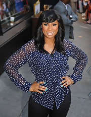 Jennifer Hudson looked patriotic in this blue starred blouse on 'Good Morning America.'