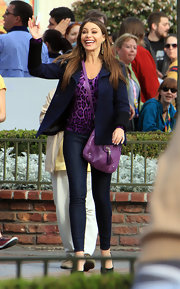 Sofia Vergara was spotted on the set of 'Modern Family' in a purple leopard print top and matching accessories.