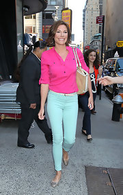 LuAnn's fuchsia pink shirt topped off her casual color-block look perfectly.