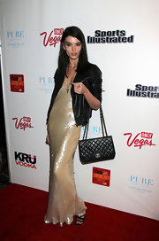 Crystal Renn wore this beaded champagne gown to the SI Swimsuit event.