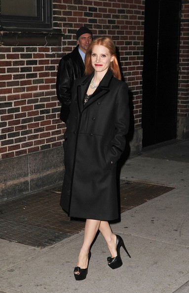 More Pics of Jessica Chastain Wool Coat (4 of 5) - Wool Coat Lookbook - StyleBistro