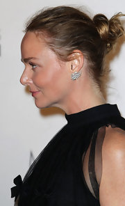 Stella McCartney displayed her usual casual sophistication when she attended the New York City Ballet's performance of 'Ocean's Kingdom. To recreate her effortless updo, simply sweep hair back an secure into a pony tail. Wrap the tail and tuck the ends into the hair elastic. A light misting of hairspray finishes the look.