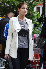 Stephanie Seymour showed off her ultra-chic street style in a fitted white jacket and skinny jeans while out and about in SoHo.