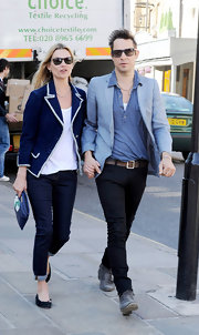 Kate Moss went nautical in this white-bordered navy blazer while out in London.