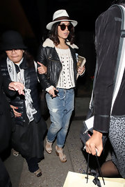 Vanessa Hudgens was spotted wearing a pair of distressed boyfriend jeans at LAX.