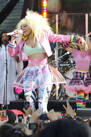 During a performance on 'Good Morning America,' Nicki Minaj wore a clear plastic a-line skirt with pink plastic accents.