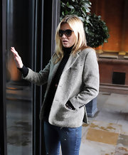 Kate Moss' tweed jacket was casual and cool for a stroll around London.