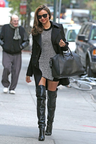 Supermodel Miranda Kerr rocks some knee high black boots, as she heads into a New York City doctor's office