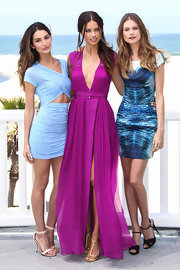 Lily Aldridge paired pink evening sandals with a blue cutout dress for the Victoria's Secret Angels What is Sexy event.