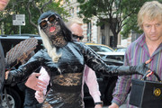 Superstar Lady Gaga and boyfriend Luc Car are seen leaving a studio in New York City.  It has been reported that the couple has recently gotten back together after a short break up earlier this year.  Gaga, 25, is seen wearing edgy high fashion pieces as she receives attention.