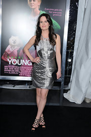 Elizabeth Raeser wore a silver metallic cocktail dress to the 'Young Adult' premiere in NYC.