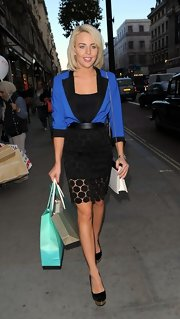 Lydia Rose Bright's black pumps featured gold platforms that gave them a sophisticated spin.