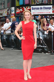 Sophia Myles sported a chic red frock with an asymmetrical neckline and ruched side.