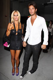 Shauna Sand heated up the streets of West Hollywood in a shirred black halter dress.