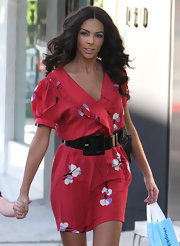 Terri showed off her long center part curls while hitting the streets of LA.