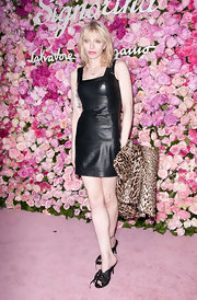 Courtney Love channeled her rocker past in this leather dress at the Slavatore Ferragamo Signorina fragrance launch in NYC.
