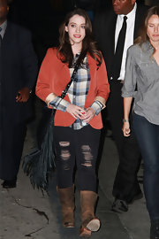 Kat Dennings was spotted leaving 'Jimmy Kimmel Live' in distressed brown leather mid-calf boots.