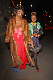 Toccara Jones was seen outside the Corinthian Hotel in London wearing a pretty maxi dress topped with a fab fur coat.