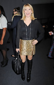 Ramona Singer took a walk on the wild side at the J. Mendel show in a leopard print mini skirt.