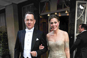 Tom Hanks and Rita Wilson leave their hotel to attend a state banquet at Buckingham Palace with President Barack Obama and Queen Elizabeth II.