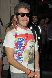 Perez Hilton wore one of his many Madonna T-shirts to a party in Mahiki Nighclub.