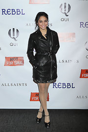 Vanessa Hudgens added some sweetness to her spicy black leather jacket with these black peep toe Mary Janes.
