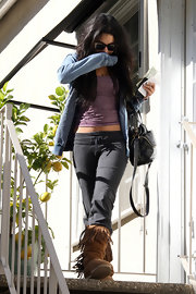 Vanessa Hudgens was spotted leaving a skin care studio in dark gray sweat pants.