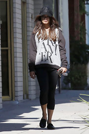 Vanessa Hudgens rocked a printed hoodie while out at the gym in California.