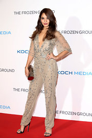 Vanessa simply sparkled in this nude crystal-embellished jumpsuit, which she sported at 'The Frozen Ground' premiere in London.