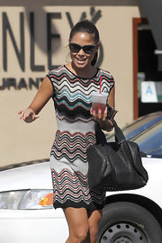 Vanessa wears a Missoni-esque day dress while out for lunch.