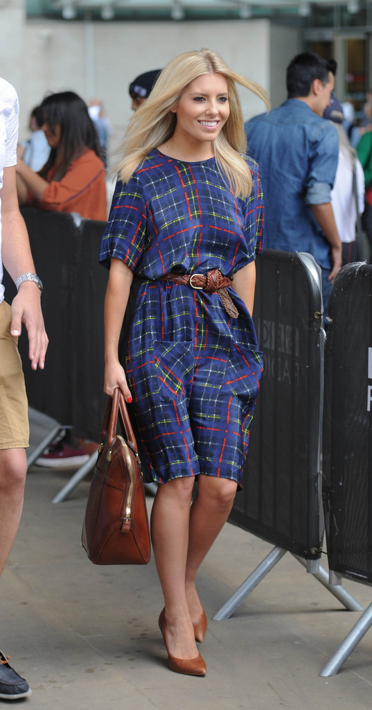 Mollie King of The Saturdays seen at the Radio 1 Studios in London.