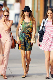 Behati Prinsloo looked relaxed and summery in a colorful tie-dye dress while out on a stroll in NYC.
