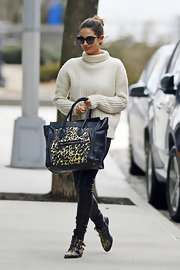 Lily Aldridge stepped out for errands wearing an eye-catching pair of studded ankle boots.