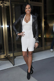 Selita paired her bandage dress with a studded motorcycle jacket.
