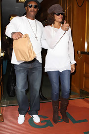Whitney Houston wore a sheer white sweater and a pair of jeans while out at Beverly Hills.