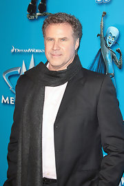 Will Ferrell bundled up in a gray knit scarf.
