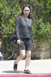 Soon-Yi Previn was dressed down in a long-sleeve gray dress while leaving the Beverly Wilshire Hotel.