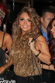 Jesy Nelson was all glittery at the InStyle party in a sparkly gold tank top.