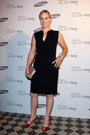 Zara Phillips kept things simple in a classic black dress at the Samsung launch.