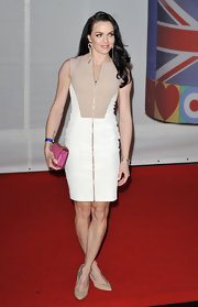Victoria Pendleton looked mod in a two-tone zipped dress at the Brit Awards.